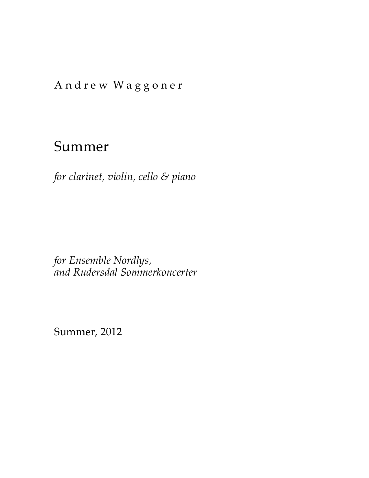Summer for Clarinet, Violin, Violoncello & Piano